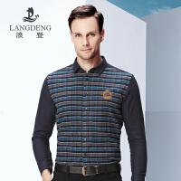 浪登男装秋装新品时尚格子衬衫磨毛工艺修身版长袖休闲衬衣G5045