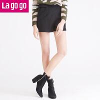 Lagogo/拉谷谷年冬季新款女装秋冬女裤裤子休闲短裤FDKK13N730