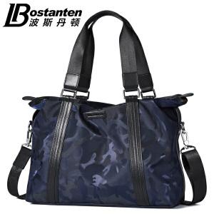 波斯丹顿男士迷彩手提包帆布牛津布横款潮流休闲单肩包斜挎男包B1164103