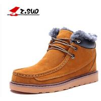 走索冬季男士雪地靴大码英伦潮流短靴真皮保暖加绒高帮棉鞋靴子男