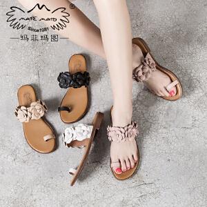 玛菲玛图 外出夏天拖鞋女外穿时尚欧美套趾鞋简约个性花朵英伦小跟凉鞋17潮2611-18D