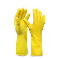 玉蝶 加厚耐酸碱手套工作乳胶浸塑手套劳保手套 黄色丁腈防护防水防滑防油工业家务手套