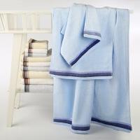 锦和家毛巾家纺褶皱竹纤维毛巾礼盒装三件套(方巾1毛巾1浴巾1)礼品盒 JH11-03WFB