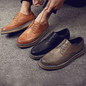 2017春季新款新款休闲鞋英伦风复古男士时尚圆头系带皮鞋单鞋鞋子厚底男鞋子1178BBS支持货到付款