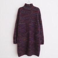 秋冬款女士毛衣裙中长款高领宽松打底衫针织衫韩国套头加厚连衣裙