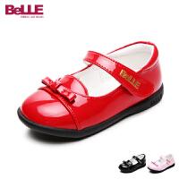 百丽童鞋17年夏季新款女童皮鞋婴童蝴蝶结魔术贴单鞋宝宝鞋学生鞋 DE5832