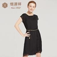 恒源祥春夏季新款女装通勤黑色蕾丝拼接修身雪纺连衣裙中裙薄