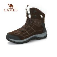 camel骆驼户外徒步鞋 男款高帮细带反毛皮加绒内里徒步鞋