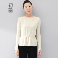 初语冬季新款 复古针织纹理收腰套头羊绒衫女8440423187