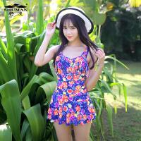 舒漫新款16013泳衣女裙式连体时尚保守韩国温泉泳装