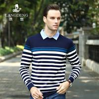 浪登2017春季新品休闲长袖T恤 男士条纹假两件衬衫t恤YD516