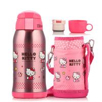 包邮 Hello Kitty 保温杯 双盖儿童水壶 水杯 600ML不锈钢保温旅行水瓶 配杯套