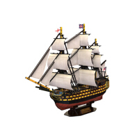 新品乐立方3D立体拼图纸模型英国皇家胜利号T4019H帆船模航海