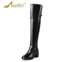 【冬季清仓】阿么牛皮长靴子粗跟过膝靴中跟圆头英伦骑士修腿高筒靴子女鞋