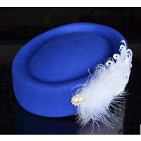 采悠帽子 女 英伦复古小礼帽贝雷毛呢帽  羽毛春秋冬天空姐帽