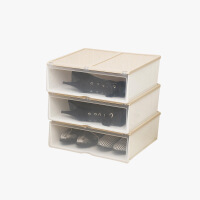 当当优品 加长款抽屉式塑料防潮加厚透明鞋盒 3个装  颜色多选