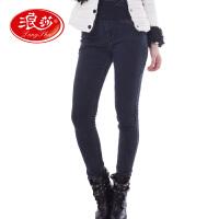 浪莎保暖裤 女士双层加绒厚款外穿保暖裤 牛仔裤 秋冬打底裤