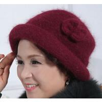 盆帽妈妈棉帽 礼帽兔毛帽子 加厚保暖贝雷帽 女士冬天  老年帽老人帽女