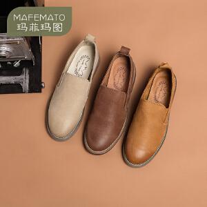 玛菲玛图 春款英伦复古皮鞋女圆头平底单鞋女布洛克乐福鞋108-10