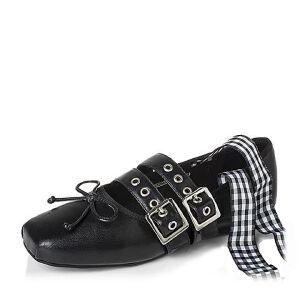 BASTO/百思图2017春季羊皮甜美舒适绑带方头芭蕾舞女单鞋76829AQ7