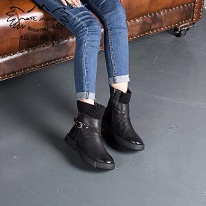玛菲玛图皮带扣针织毛线靴子秋冬保暖加绒圆头马丁靴女英伦短靴女009-1L