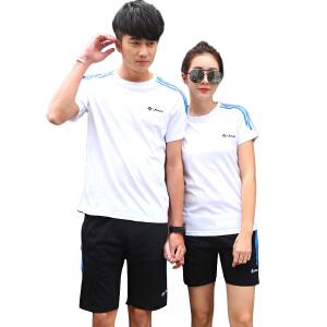 夏季情侣运动套装男夏短袖休闲套装女运动服夏装2017新款潮流韩版