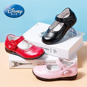 迪士尼小熊维尼儿童皮鞋2017年春秋牛皮舒适3-10岁女童公主舞蹈皮鞋