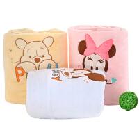 迪士尼宝宝 儿童夏凉毯 法兰绒毯子140*110cm 婴儿毛毯双层加厚 礼盒装