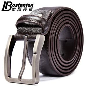 (可礼品卡支付)波斯丹顿皮带男商务牛皮黑色欧美男士腰带百搭休闲简约针扣皮带B4164170