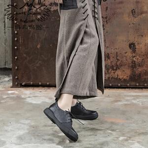 【跨店铺满200-100】 玛菲玛图17春款真皮单鞋女 平底中跟系带复古擦色休闲女鞋1167-6LY