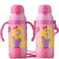 包邮!芭比娃娃儿童水杯 防漏吸管杯 400ML 3D婴儿学饮杯 女宝宝保温杯 双手柄背带款