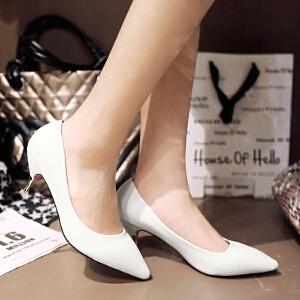 【包邮】2017女鞋情趣性感高跟鞋春新款潮尖头欧美浅口细跟时尚单鞋128-1ZZM支持货到付款