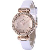 聚利时韩国时尚潮流腕表复古真皮带女士手表简约水钻时装手表女
