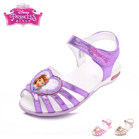 迪士尼女童凉鞋2017夏季新款童鞋女鞋鱼嘴百搭可爱小女孩公主皮凉鞋