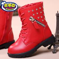 巴布豆冬季短靴女童靴子真皮马丁靴学生短靴冬靴潮