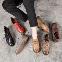 玛菲玛图真皮单鞋女低跟复古学院风小皮鞋系带牛皮尖头休闲低帮鞋工作鞋108-1Y