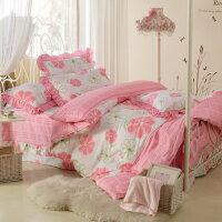 【包邮】伊迪梦家纺 全棉斜纹公主风粉色花系 荷叶花边蕾丝边枕套床罩 床笠式床上用品床裙四件套1.5米床NY005