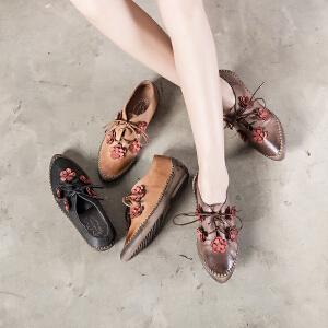 玛菲玛图2017春秋新款学院复古女鞋系带平底单鞋女花朵手工渔夫鞋838-10秋季新品