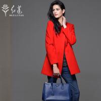 红莲 新款女士中长款圆领韩版修身长袖风衣羊毛大衣外套