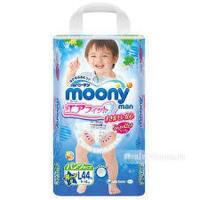 【当当自营】日本Moony尤妮佳拉拉裤L44片(9-14kg)纸尿裤 男宝宝标准装  海外购