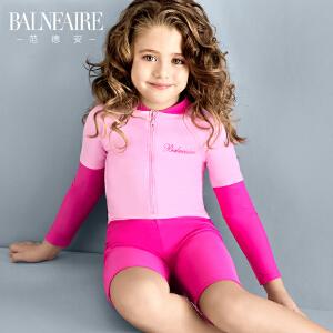 范德安2016儿童泳衣连体平角长袖防晒女童游泳衣 中大童可爱泳装