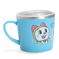 韩国爱婴小铺迪士尼儿童带盖不锈钢水杯宝宝零食杯碗牛奶杯子餐具