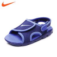 耐克nike童鞋17年夏季儿童凉鞋 黑色男童弹性快干织物面沙滩鞋386519 413
