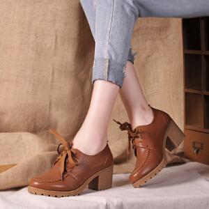 贝鸵秋冬季新款真皮女鞋粗跟厚底系带牛皮单鞋中跟复古英伦风休闲鞋