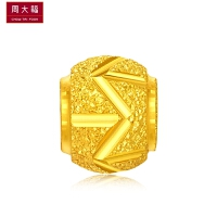 新品 周大福珠宝首饰百搭几何图案足金黄金转运珠吊坠计价 工费48元 F187701