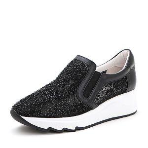 Belle/百丽2017春时尚运动风织物/牛皮女休闲鞋11003AM7小白鞋运动鞋女小白鞋女女乐福鞋