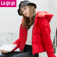 lagogo冬新款直筒连帽长袖白色羽绒服女加厚棉服棉袄