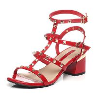 Tata/他她夏季牛皮潮流铆钉时尚罗马风粗跟女皮凉鞋2R301BL6