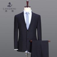 浪登2017新款韩版羊毛格纹西服套装男 潮流修身新郎宴会两件套P5021