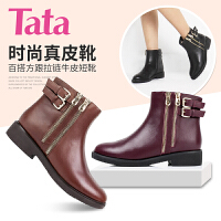 Tata/他她专柜同款小牛皮女短靴2I250CD5